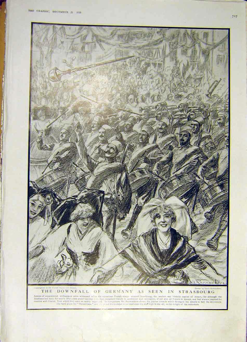 Print Germany Strasbourg Downfall Ww1 War French Troops 1918 17Ddd1 Old Original