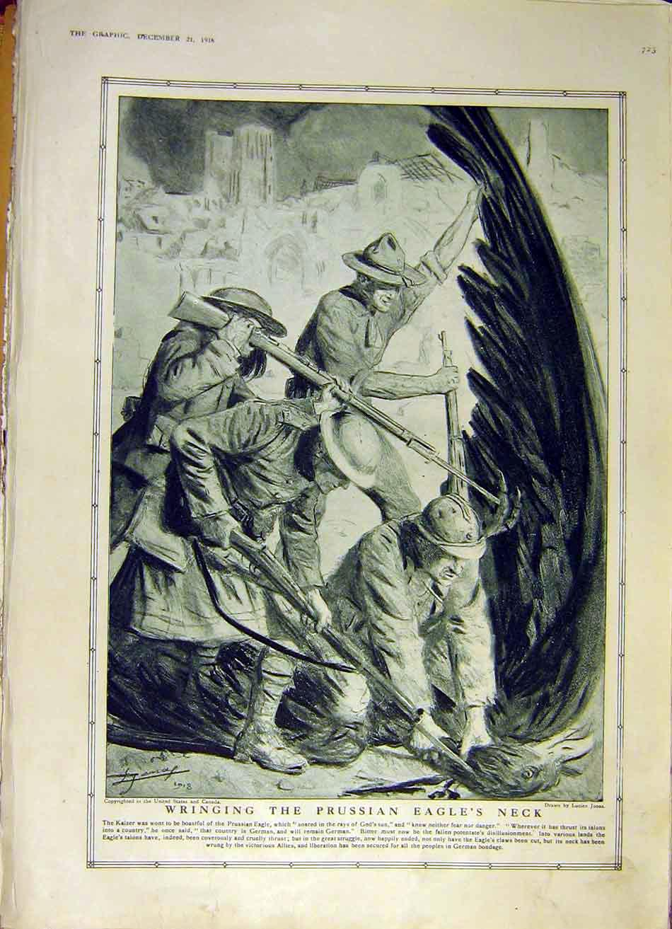 Print Prussian Eagle Kaiser Allied Soldiers Prussia Ww1 1918 23Ddd1 Old Original