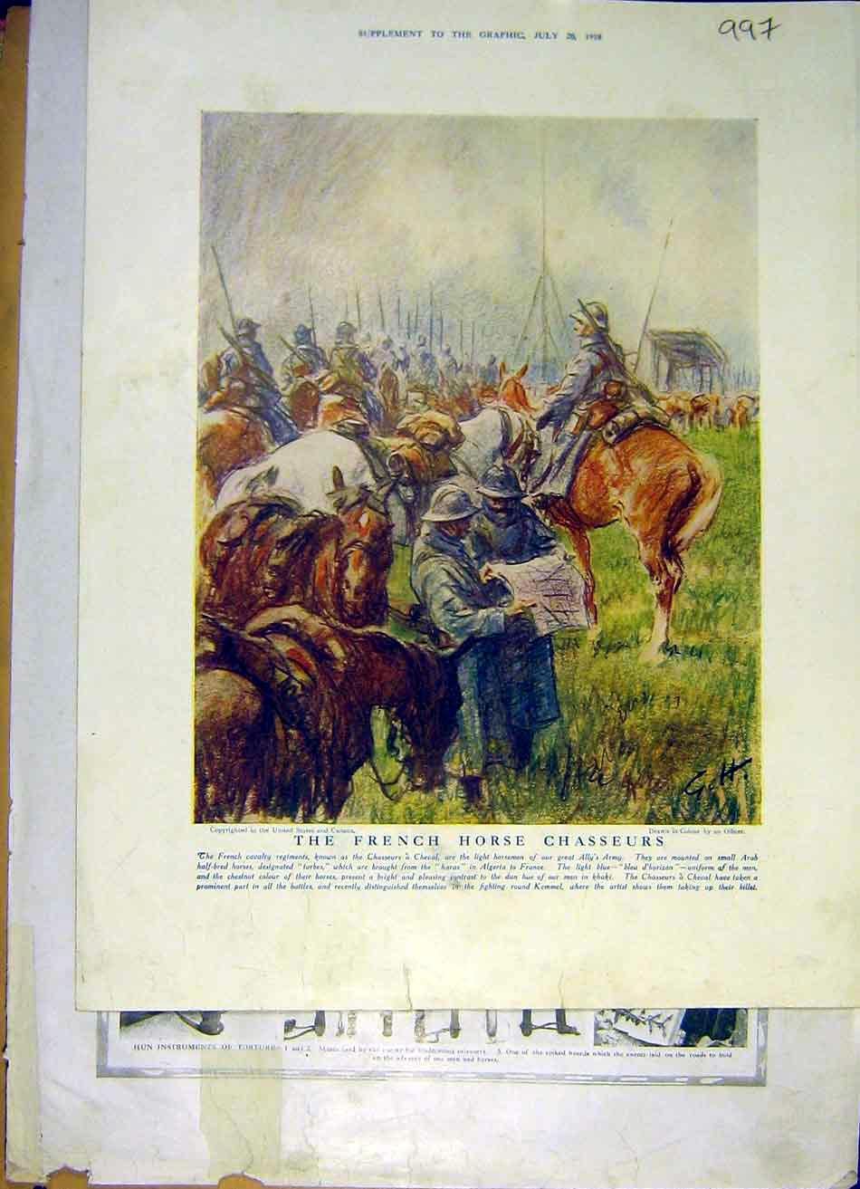 Print French Horse Chasseurs Cheval Ww1 War 1918 97Ddd1 Old Original