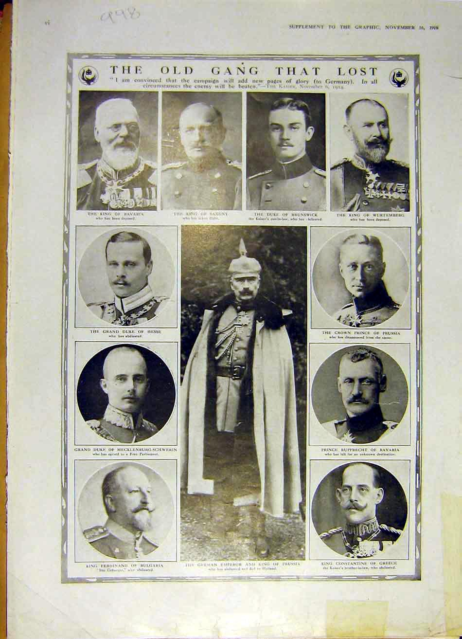 Print Germany Officers Prussia Bulgaria Bavaria Ww1 1918 98Ddd1 Old Original