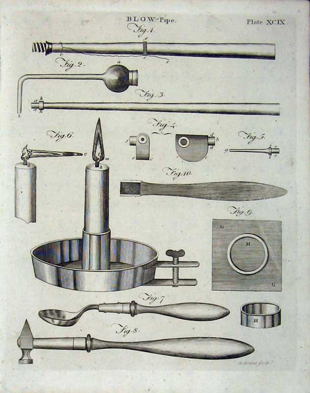 Print Encyclopaedia Britannica 1801 Blow Pipe Instruments 109E101 Old Original