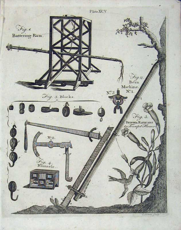 Print Encyclopaedia Britannica 1801 Battering Ram Weapons 113E101 Old Original