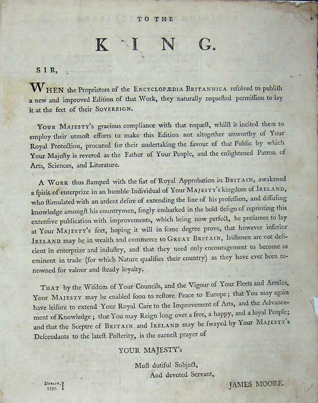 Print Encyclopaedia Britannica 1801 Letter King James Moore 122E101 Old Original