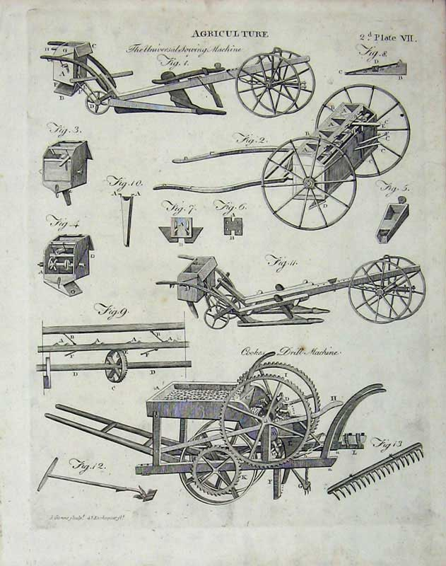 Print Encyclopaedia Britannica 1801 Agriculture Sowing Drill 129E101 Old Original