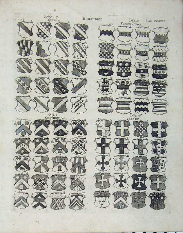 Print 1801 Heraldry Encyclopaedia Britannica Coat Arms Badges 151E101 Old Original