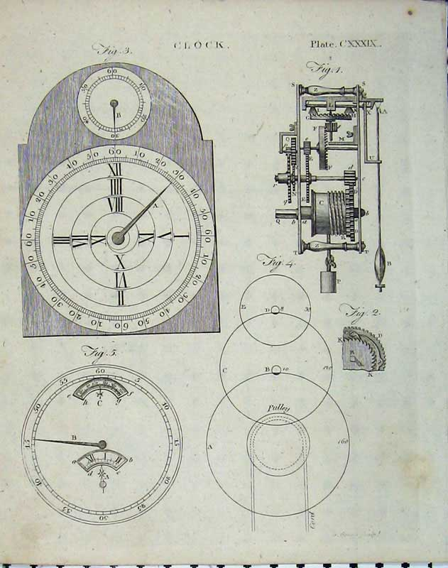 Print Encyclopaedia Britannica 1801 Clock Mechanism Face 160E101 Old Original