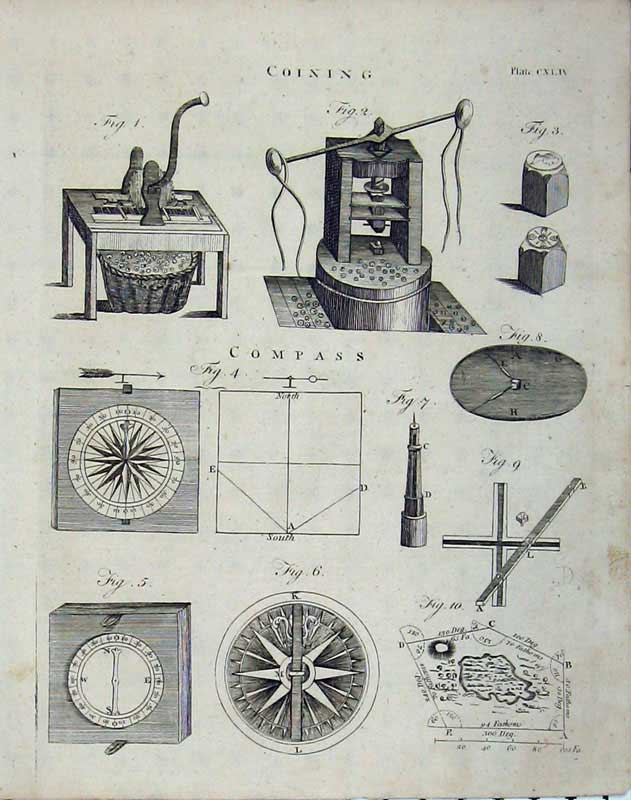 Print Encyclopaedia Britannica 1801 Coining Compass Machinery 166E101 Old Original