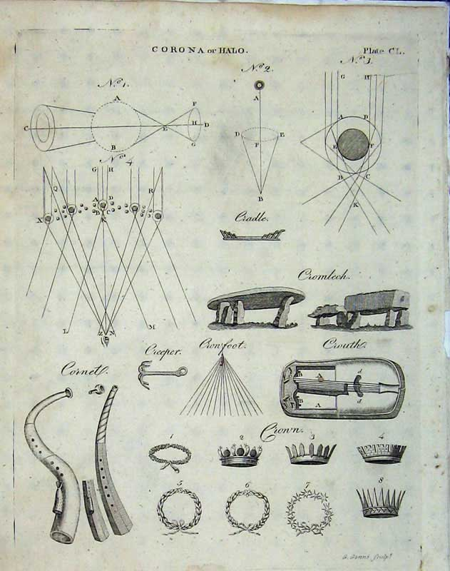 Print Encyclopaedia Britannica 1801 Diagram Crown Cromlech 170E101 Old Original