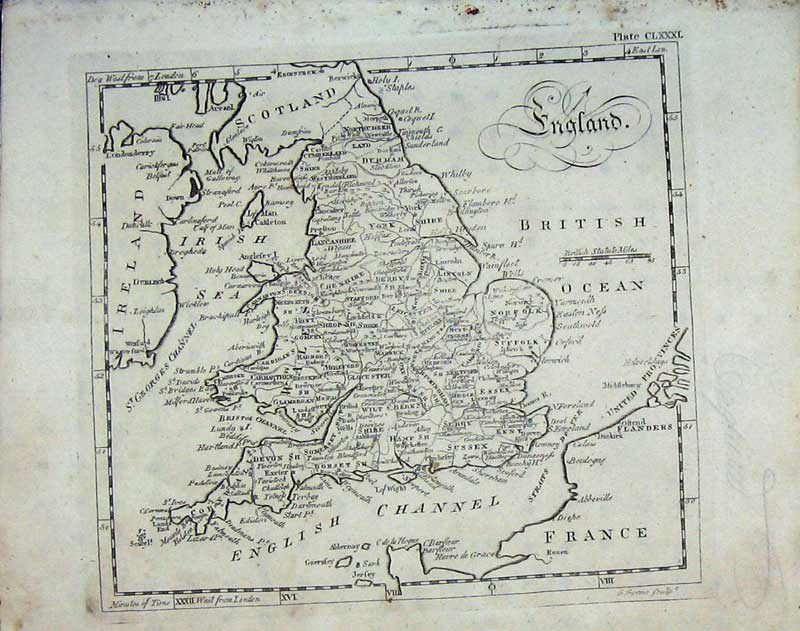 Print Encyclopaedia Britannica 1801 Map England Atlas France 196E101 Old Original