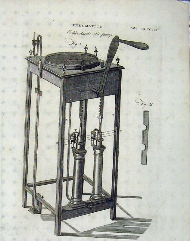 Print Encyclopaedia Britannica 1801 Pneumatics Air Pump 212E101 Old Original