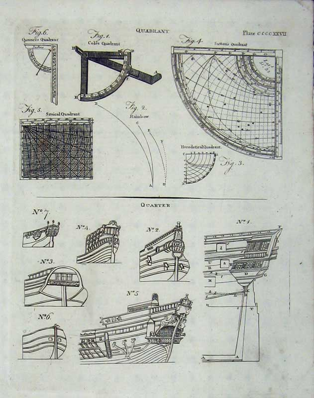 Print Encyclopaedia Britannica 1801 Diagrams Quadrant Ships 228E101 Old Original