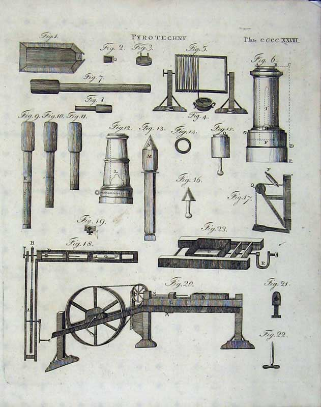 Print Encyclopaedia Britannica 1801 Pyrotechny Machinery 229E101 Old Original