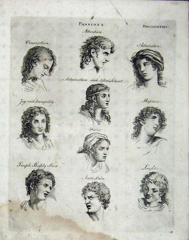 Print Encyclopaedia Britannica 1801 Portrait Heads Men Women 283E101 Old Original