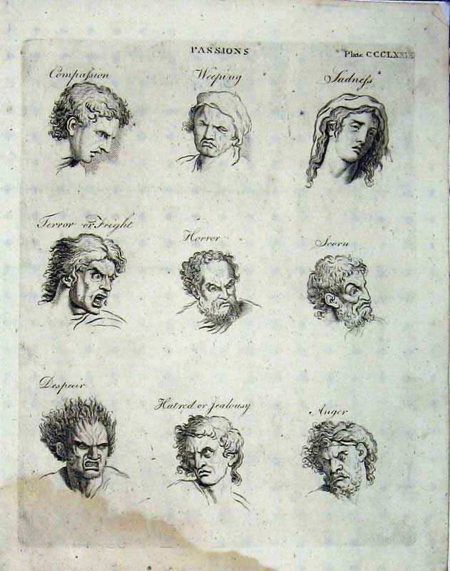 Print Encyclopaedia Britannica 1801 Portrait Passions Heads 284E101 Old Original