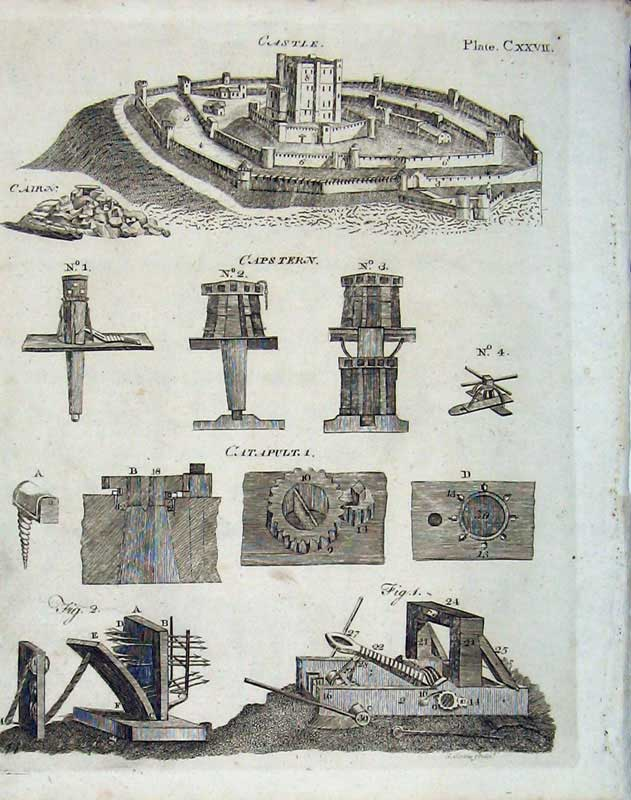 Print Encyclopaedia Britannica 1801 Castle Weapons Fort 312E101 Old Original