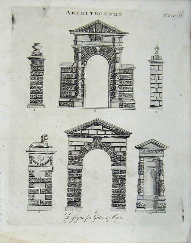 Print Architecture Gates Arch Encyclopaedia Britannica 1801 358E101 Old Original