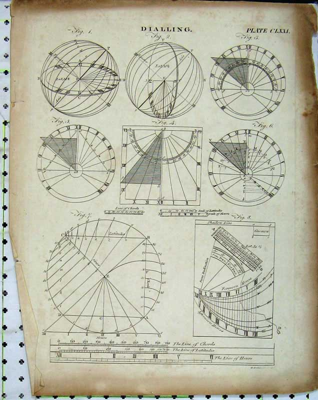Print Encyclopaedia Britannica Dialling Diagrams Latitudes 111E102 Old Original
