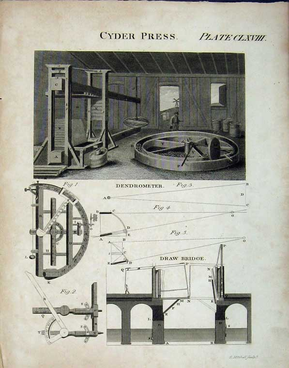 Print Encyclopaedia Britannica Cyder Press Draw Bridge Plan 115E102 Old Original