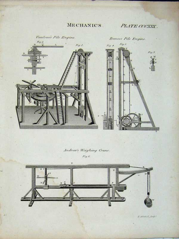 Print Encyclopaedia Britannica Mechanics Engine Crane Bunces 189E102 Old Original
