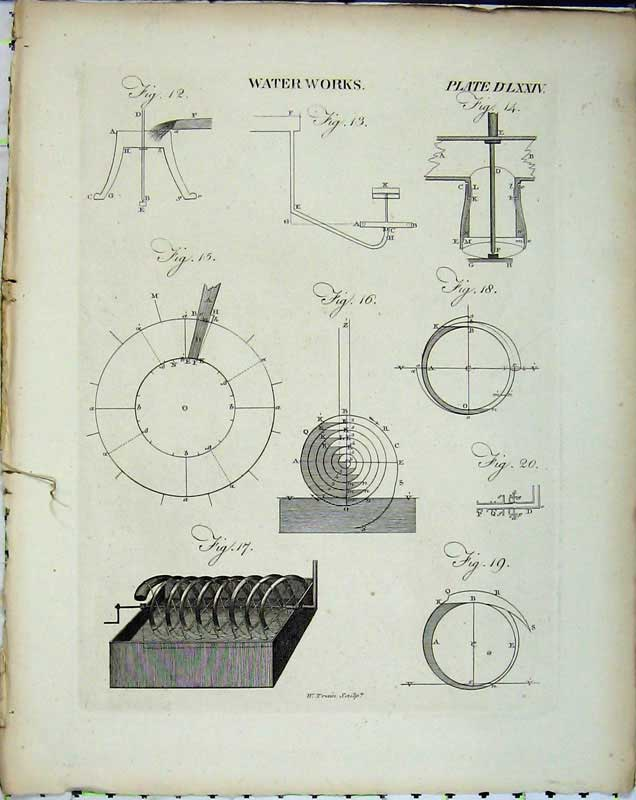 Print Encyclopaedia Britannica Water Machinery Diagrams 204E102 Old Original
