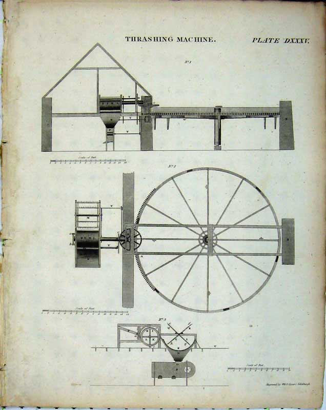 Print Encyclopaedia Britannica Thrashing Machine Farming 253E102 Old Original