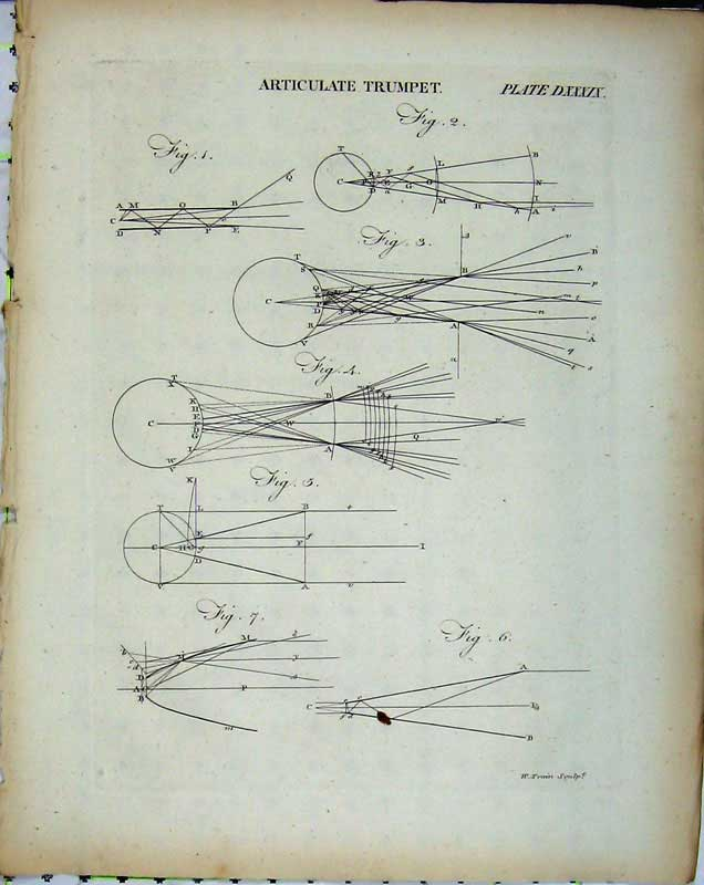 Print Encyclopaedia Britannica Articulate Trumpet Diagrams 257E102 Old Original