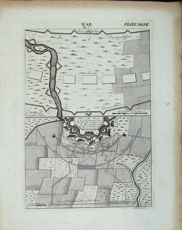 Print Encyclopaedia Britannica War Plan Attack Trenches Map 275E102 Old Original