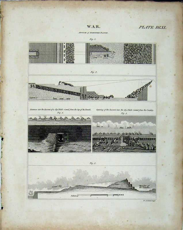 Print Encyclopaedia Britannica War Attack Fortified Places 279E102 Old Original