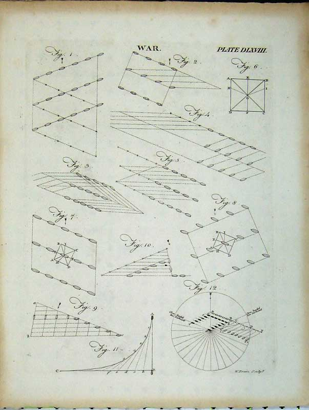 Print Encyclopaedia Britannica War Drawing Plans Diagrams 285E102 Old Original