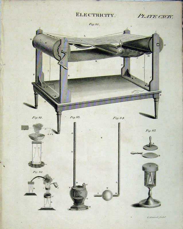 Print Encyclopaedia Britannica Electricity Machinery Drawings 106E103 Old Original