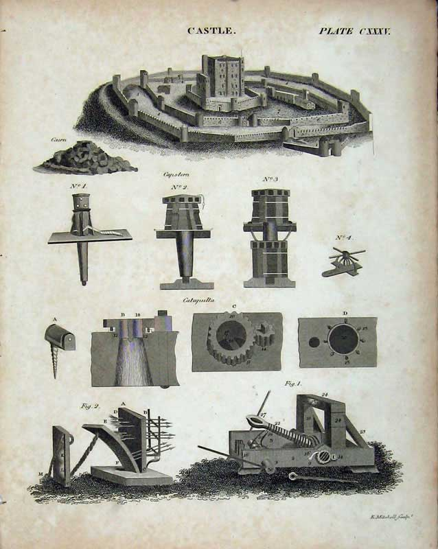 Print Encyclopaedia Britannica Castle Catapulta Capstern Fort 123E103 Old Original