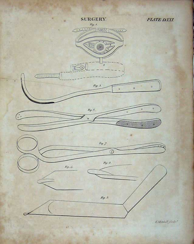 Print Encyclopaedia Britannica Surgery Instruments Scissors 141E103 Old Original
