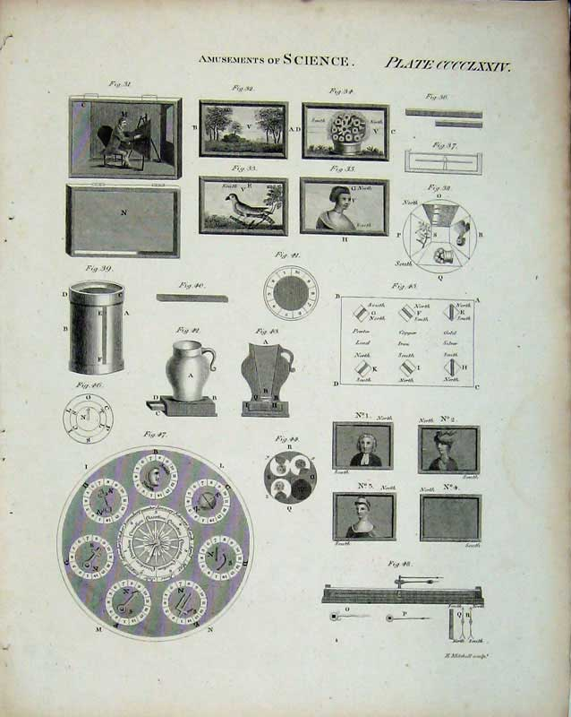 Print Encyclopaedia Britannica Amusements Science Portraits 190E103 Old Original