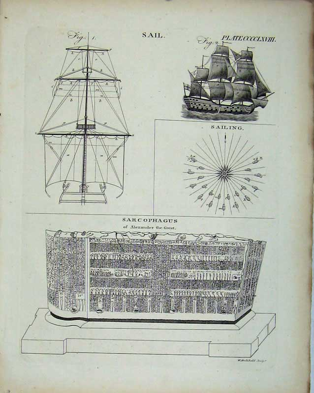 Print Encyclopaedia Britannica Sailing Ship Sarcophagus Plan 196E103 Old Original