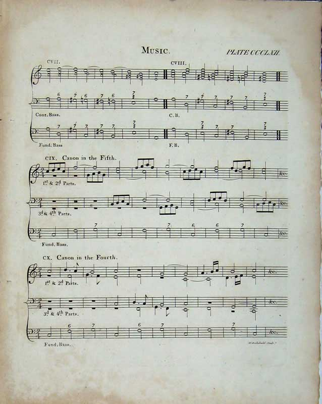 Print Encyclopaedia Britannica Sheet Music Notes Bass Canon 204E103 Old Original