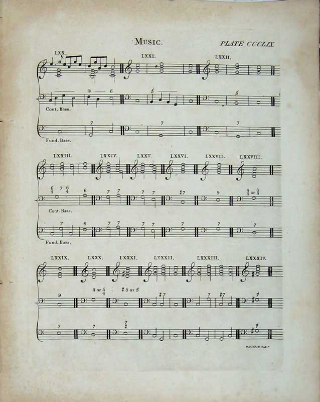 Print Encyclopaedia Britannica Sheet Music Notes Bass Fund 207E103 Old Original