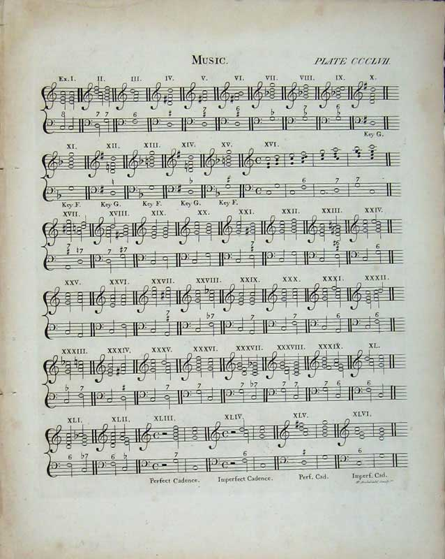 Print Encyclopaedia Britannica Sheet Music Notes Cadence 209E103 Old Original