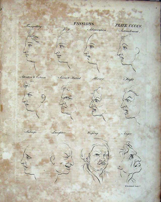 Print Encyclopaedia Britannica Human Face Passions Laughter 213E103 Old Original