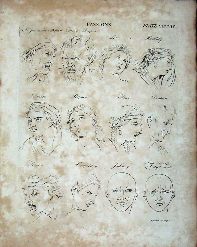 Print Human Face Passions Love Fear Encyclopaedia Britannica 214E103 Old Original