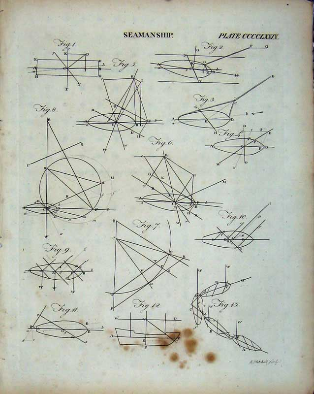 Print Encyclopaedia Britannica Seamanship Diagrams Shapes 226E103 Old Original