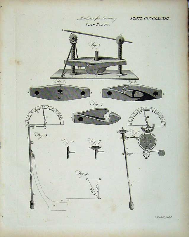 Print Encyclopaedia Britannica Machine Drawing Ship Bolts 230E103 Old Original