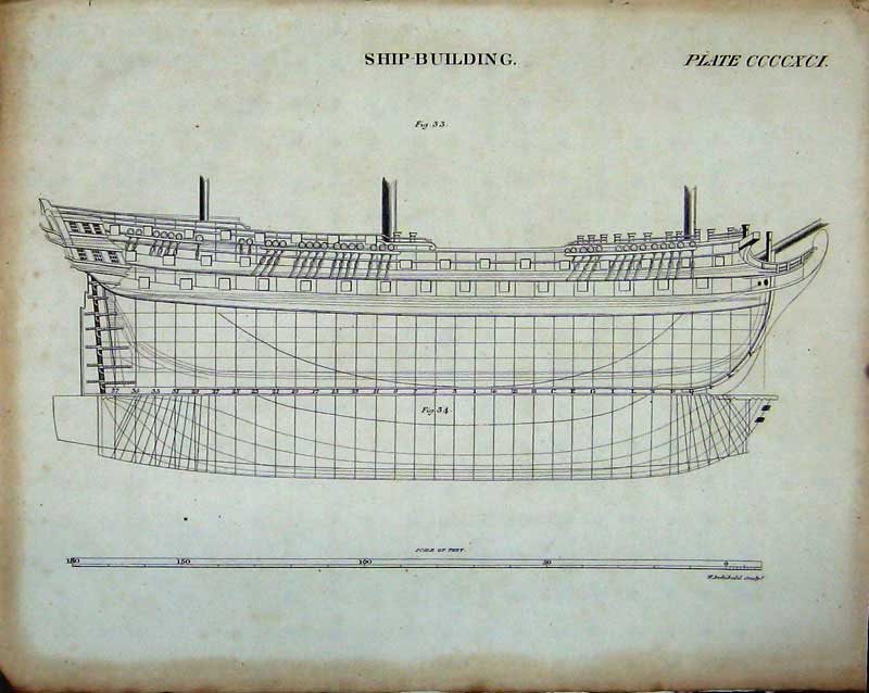Print Encyclopaedia Britannica Ship Building Drawing Diagrams 238Ae103 Old Original