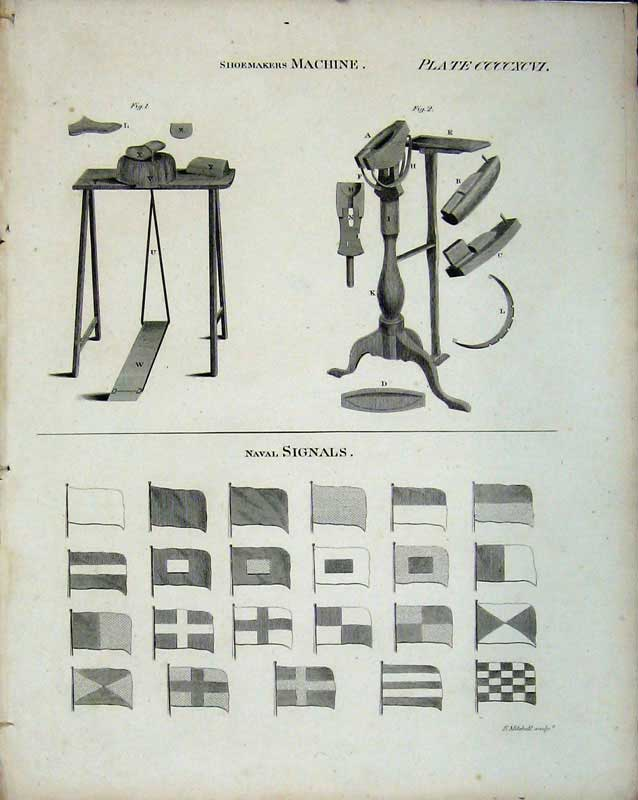 Print Encyclopaedia Britannica Shoemakers Machine Naval Flags 242E103 Old Original