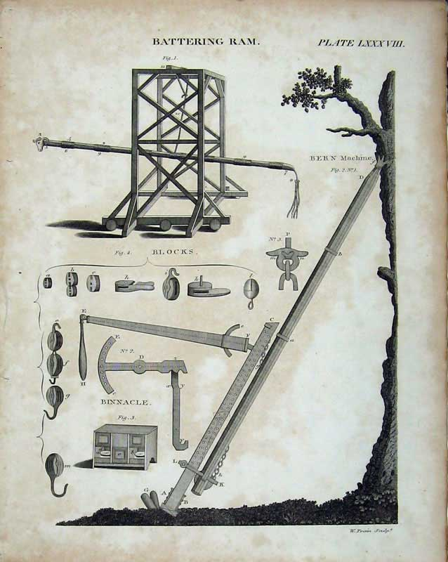 Print Encyclopaedia Britannica Battering Ram Bern Machine 247E103 Old Original