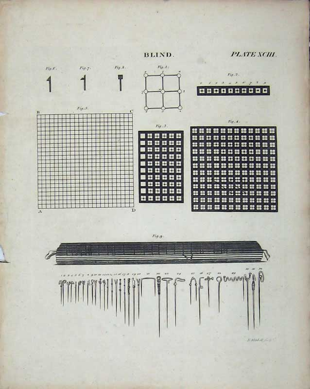 Print Encyclopaedia Britannica Blind Pattern Instruments 252E103 Old Original
