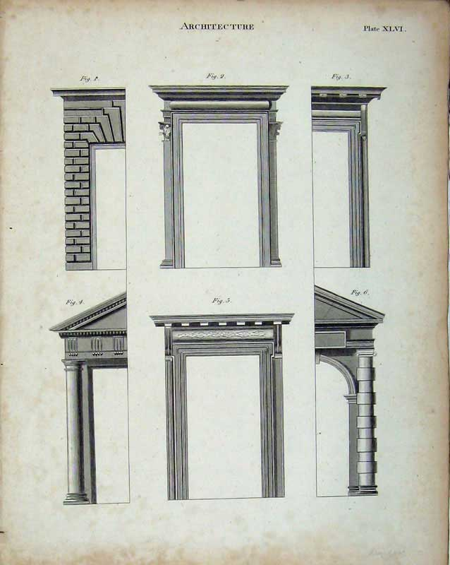 Print Encyclopaedia Britannica Architecture Column Pillars 312E103 Old Original