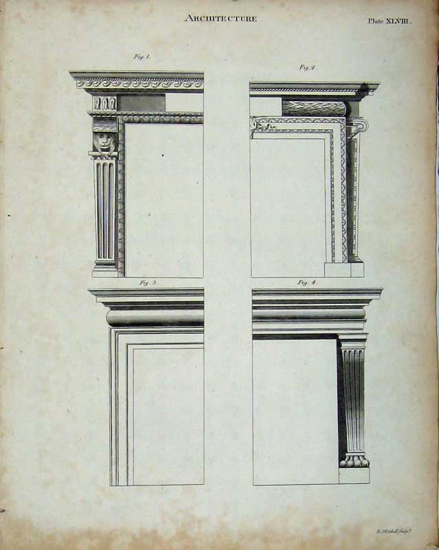 Print Encyclopaedia Britannica Architecture Frames Drawings 314E103 Old Original