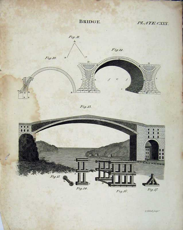 Print Encyclopaedia Britannica Bridge Architecture Diagrams 348E103 Old Original