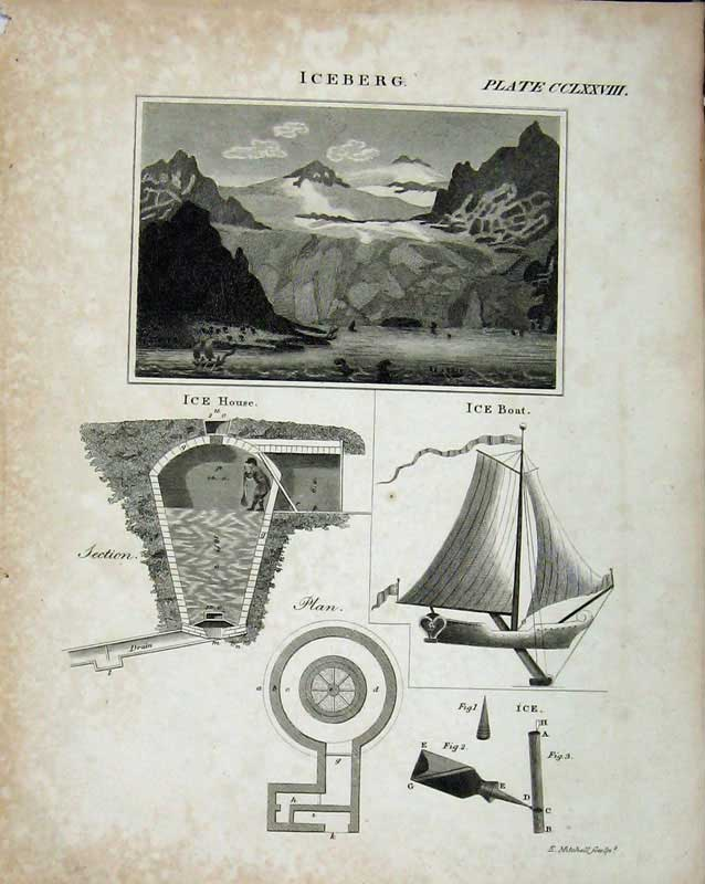 Print Encyclopaedia Britannica Iceberg House Boat Drawings 367E103 Old Original