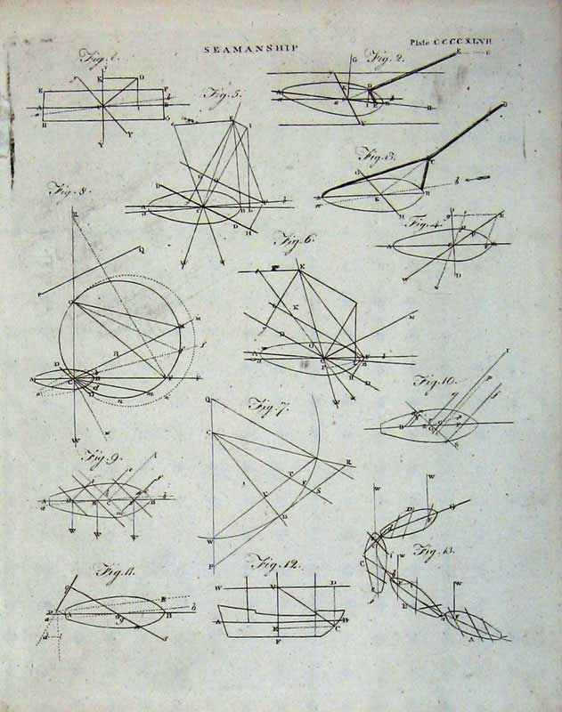 Print Encyclopaedia Britannica Seamanship Diagrams Drawing 101E104 Old Original